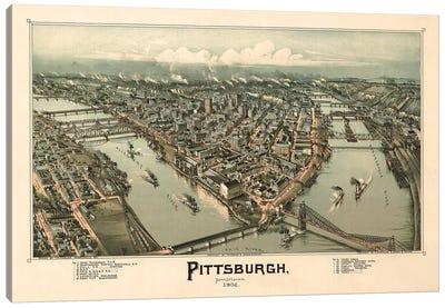Pittsburgh, Bird's Eye View, 1902 Canvas Art Print