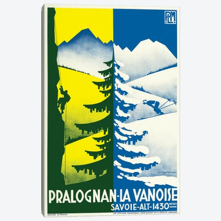 Pralognan-la-Vanoise Skiing Canvas Print #VAC1929} by Vintage Apple Collection Canvas Art