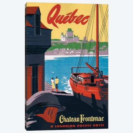 Quebec Château Frontenac Canvas Print #VAC1934} by Vintage Apple Collection Canvas Artwork