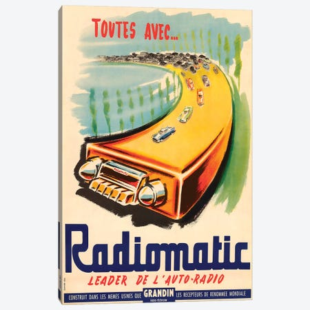 Radiomatic, Leader de l'Auto-Radio Canvas Print #VAC1939} by Vintage Apple Collection Canvas Art Print
