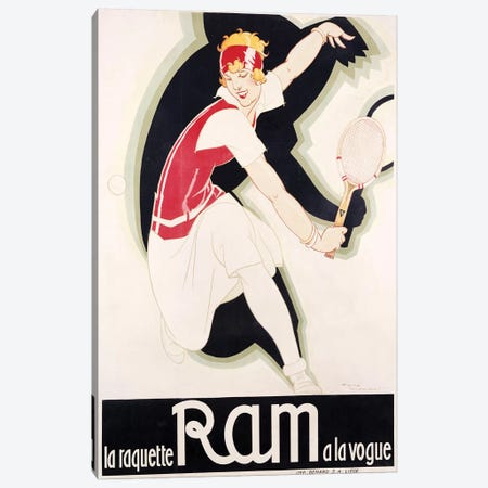 Ram Art Deco Tennis Canvas Print #VAC1940} by Vintage Apple Collection Canvas Art