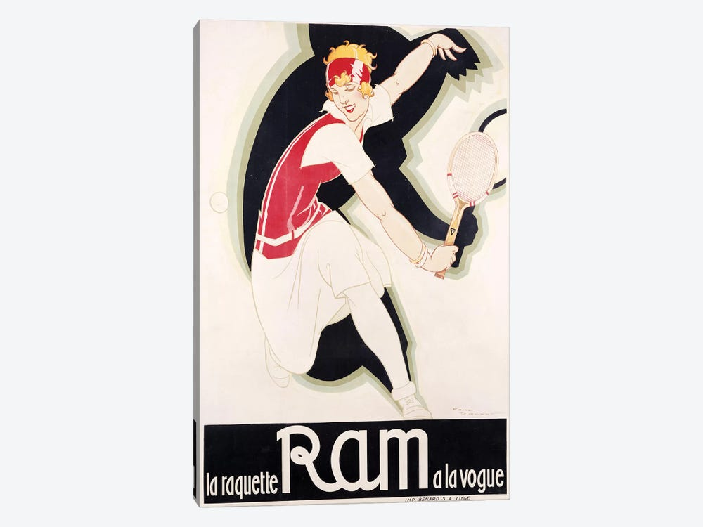Ram Art Deco Tennis by Vintage Apple Collection 1-piece Canvas Wall Art