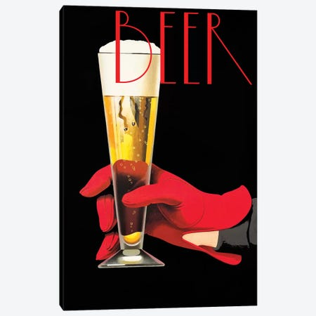 Red Glove Beer Canvas Print #VAC1945} by Vintage Apple Collection Canvas Print