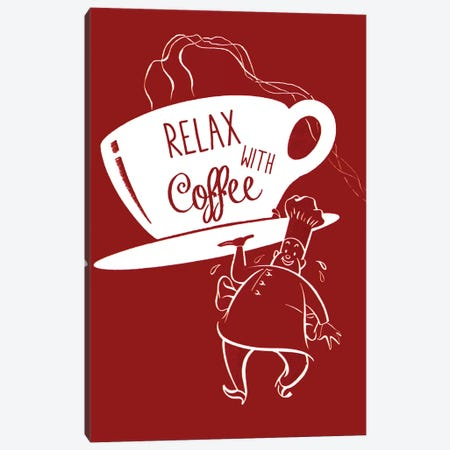 Relax With Coffee Canvas Print #VAC1948} by Vintage Apple Collection Canvas Wall Art