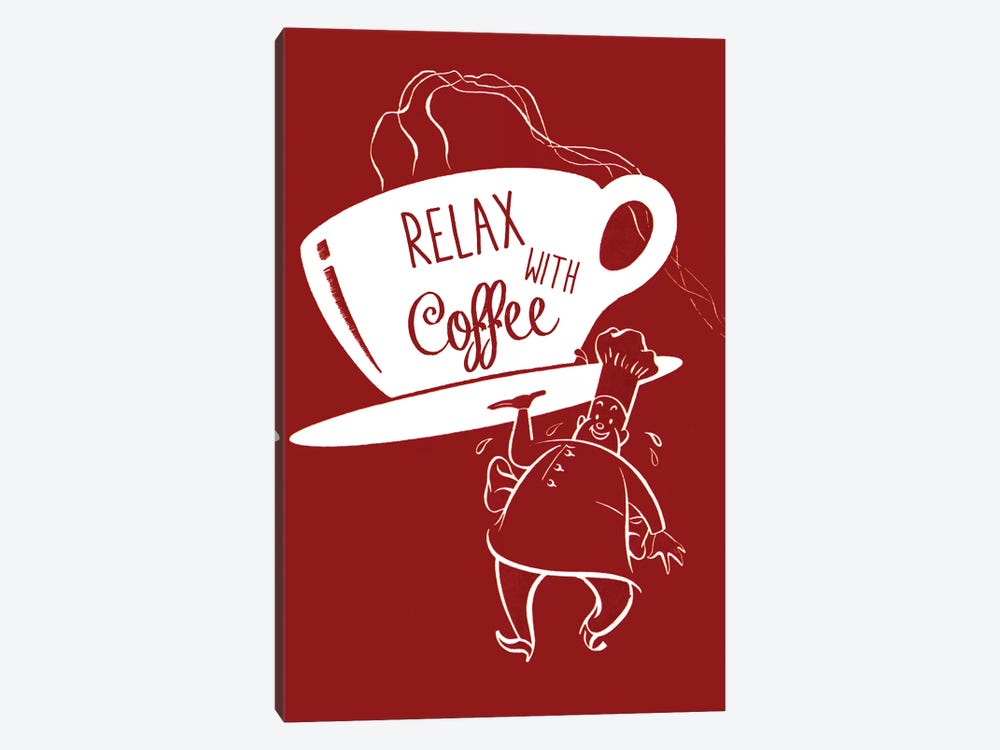 Relax With Coffee by Vintage Apple Collection 1-piece Canvas Artwork