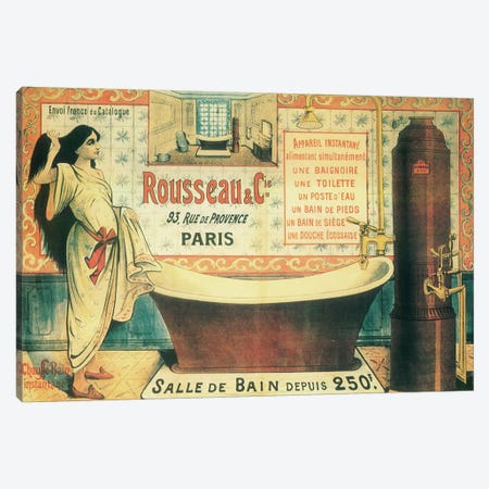 Salle de Bain Canvas Print #VAC1965} by Vintage Apple Collection Canvas Art Print