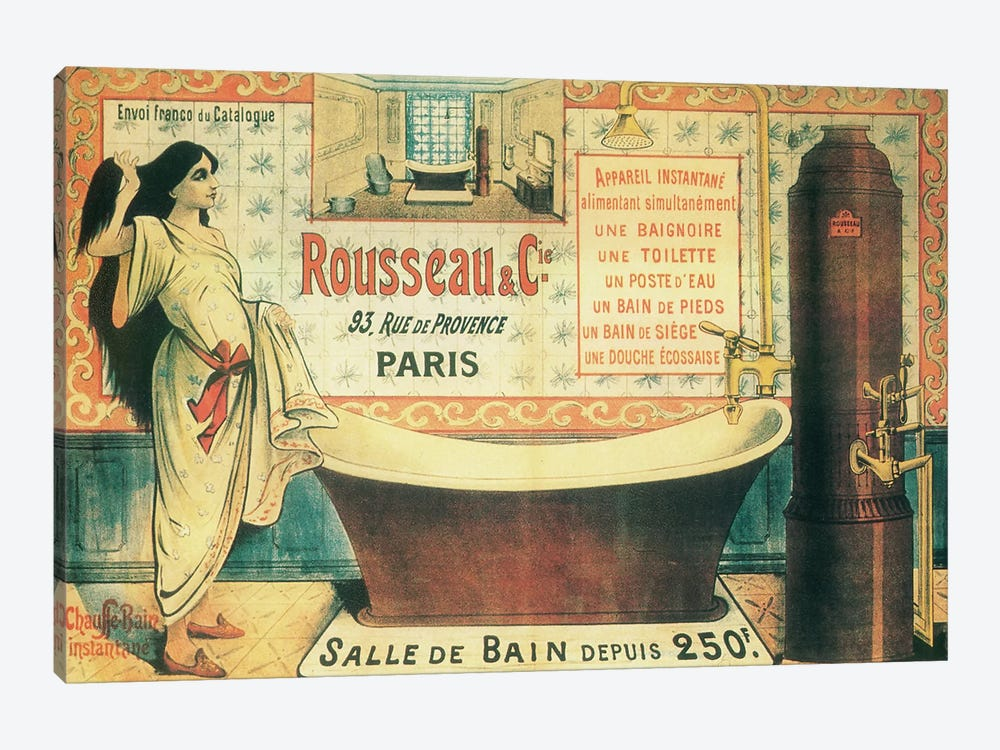 Salle de Bain by Vintage Apple Collection 1-piece Canvas Print