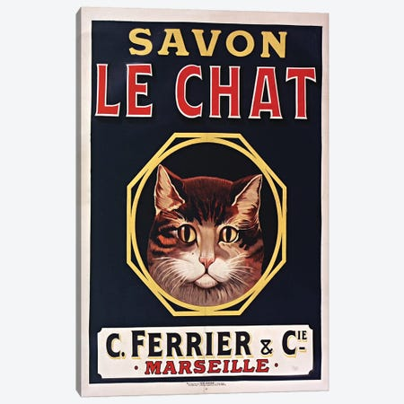 Savon Le Chat Black Canvas Print #VAC1978} by Vintage Apple Collection Canvas Art Print