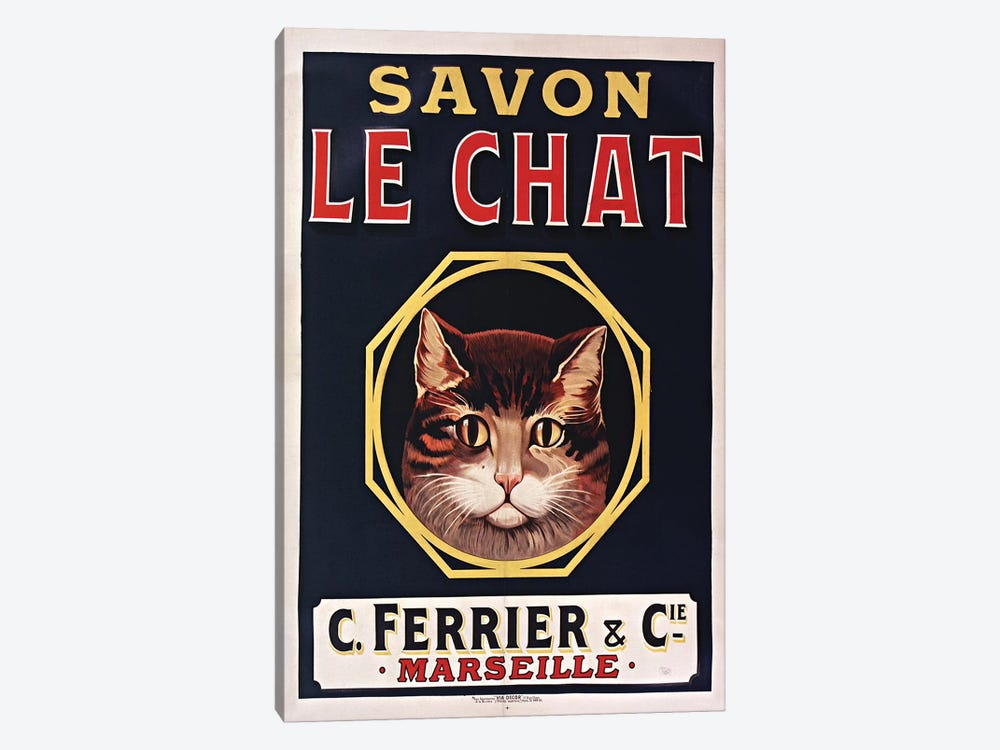 Savon Le Chat Black by Vintage Apple Collection 1-piece Canvas Art Print
