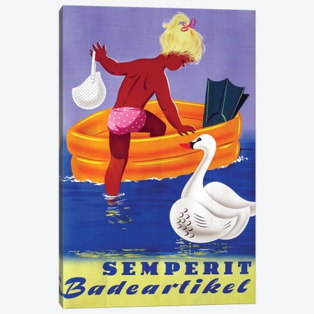 Semperit Badeartikel, Girl & Swan Canvas Print #VAC1984} by Vintage Apple Collection Canvas Art Print