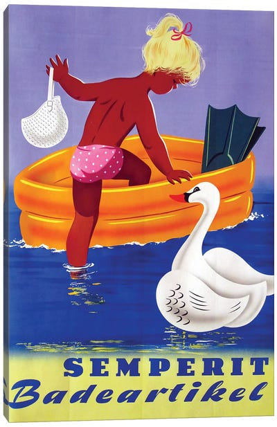 Semperit Badeartikel, Girl & Swan Canvas Art Print