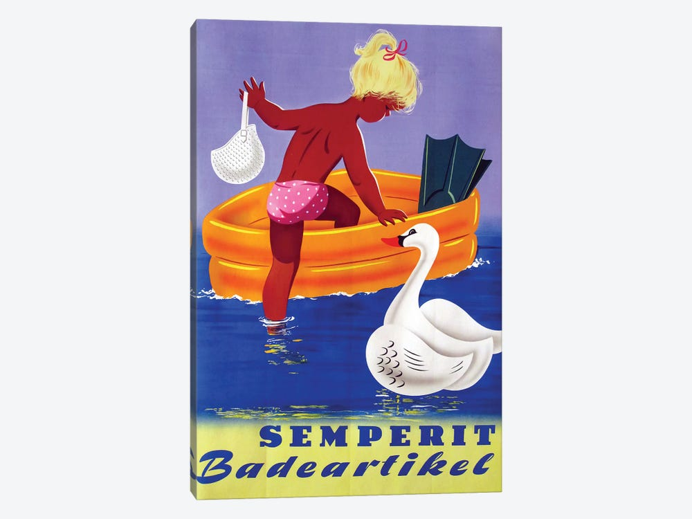 Semperit Badeartikel, Girl & Swan by Vintage Apple Collection 1-piece Canvas Artwork
