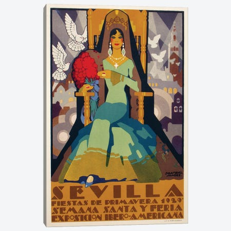 Sevilla Green Dress, 1929 Canvas Print #VAC1987} by Vintage Apple Collection Canvas Art Print