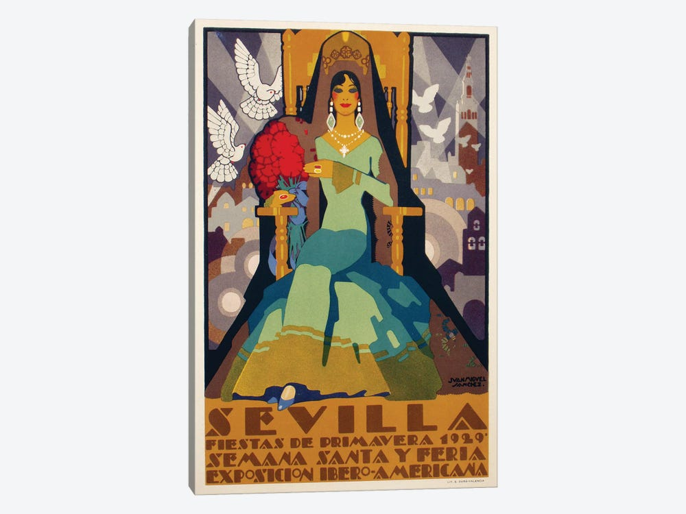 Sevilla Green Dress, 1929 by Vintage Apple Collection 1-piece Art Print