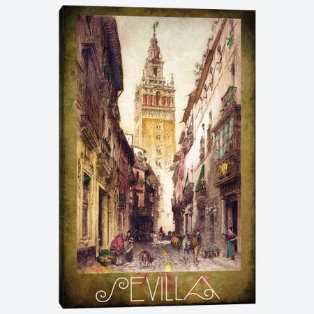 Sevilla Street Scene Canvas Print #VAC1988} by Vintage Apple Collection Canvas Wall Art