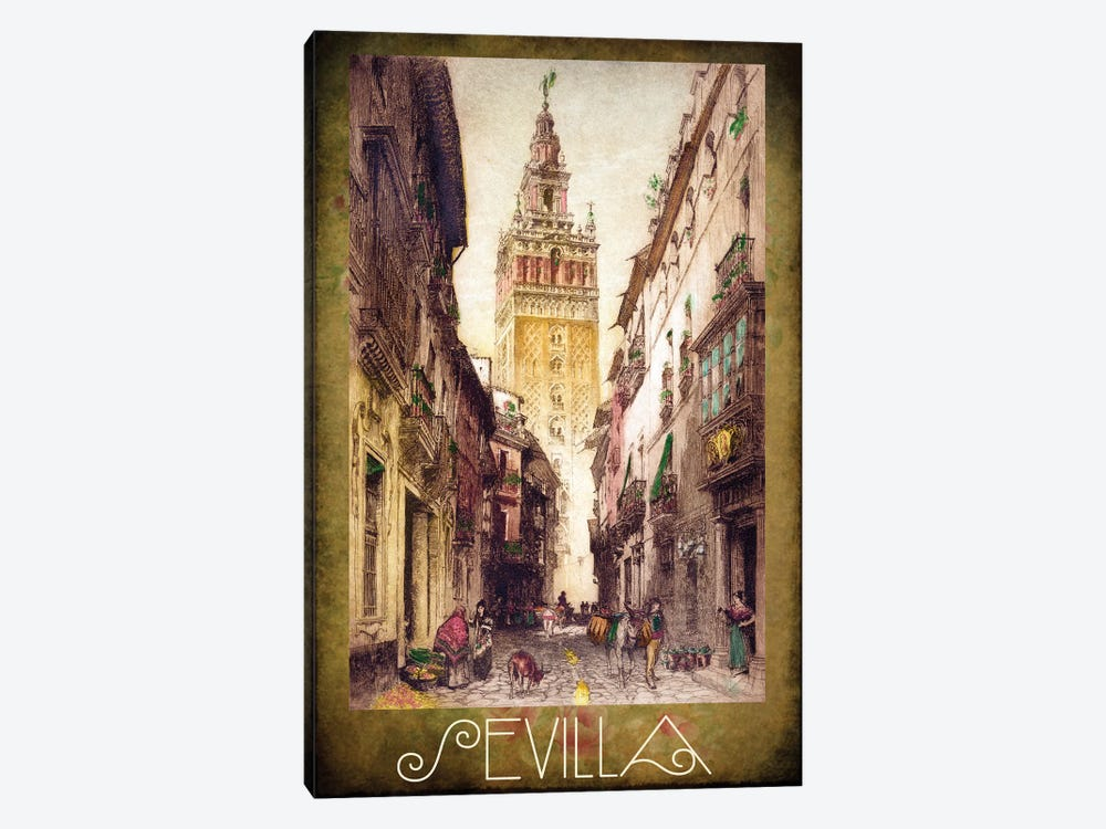 Sevilla Street Scene by Vintage Apple Collection 1-piece Canvas Wall Art