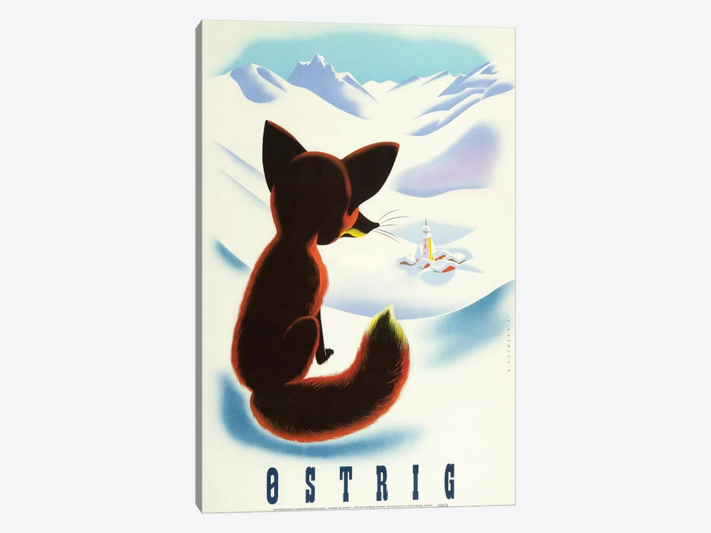 Ski Ostrig Fox, 1947 by Vintage Apple Collection 1-piece Canvas Artwork