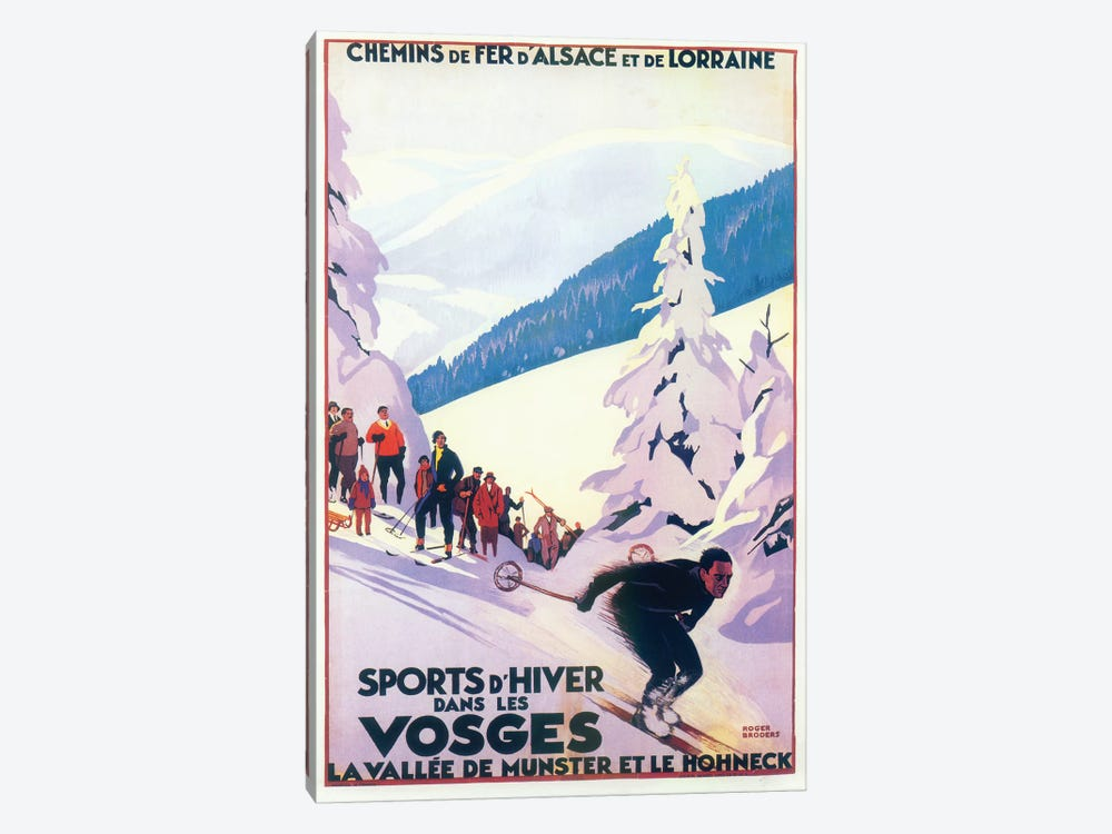 Skiing III by Vintage Apple Collection 1-piece Canvas Artwork