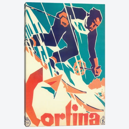 Skiing V Canvas Print #VAC2009} by Vintage Apple Collection Art Print