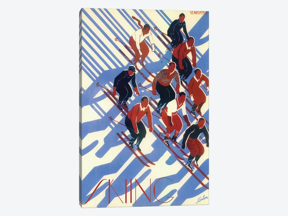 Skiing VIII by Vintage Apple Collection 1-piece Canvas Art Print