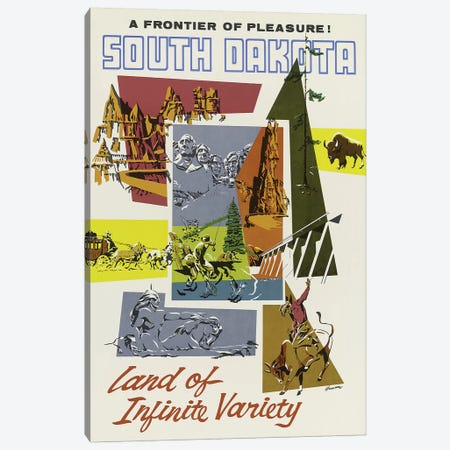 South Dakota, Land Of Infinite Variety Canvas Print #VAC2019} by Vintage Apple Collection Canvas Wall Art