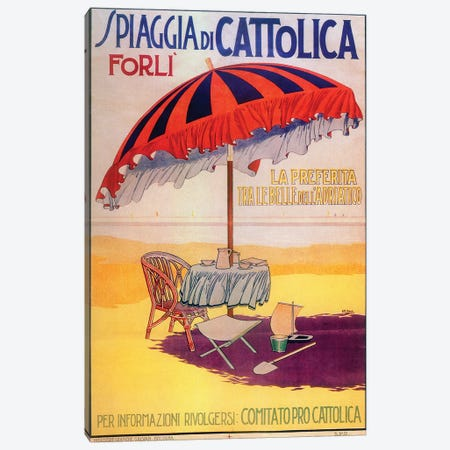 Spiaggia Cattolica Canvas Print #VAC2029} by Vintage Apple Collection Art Print