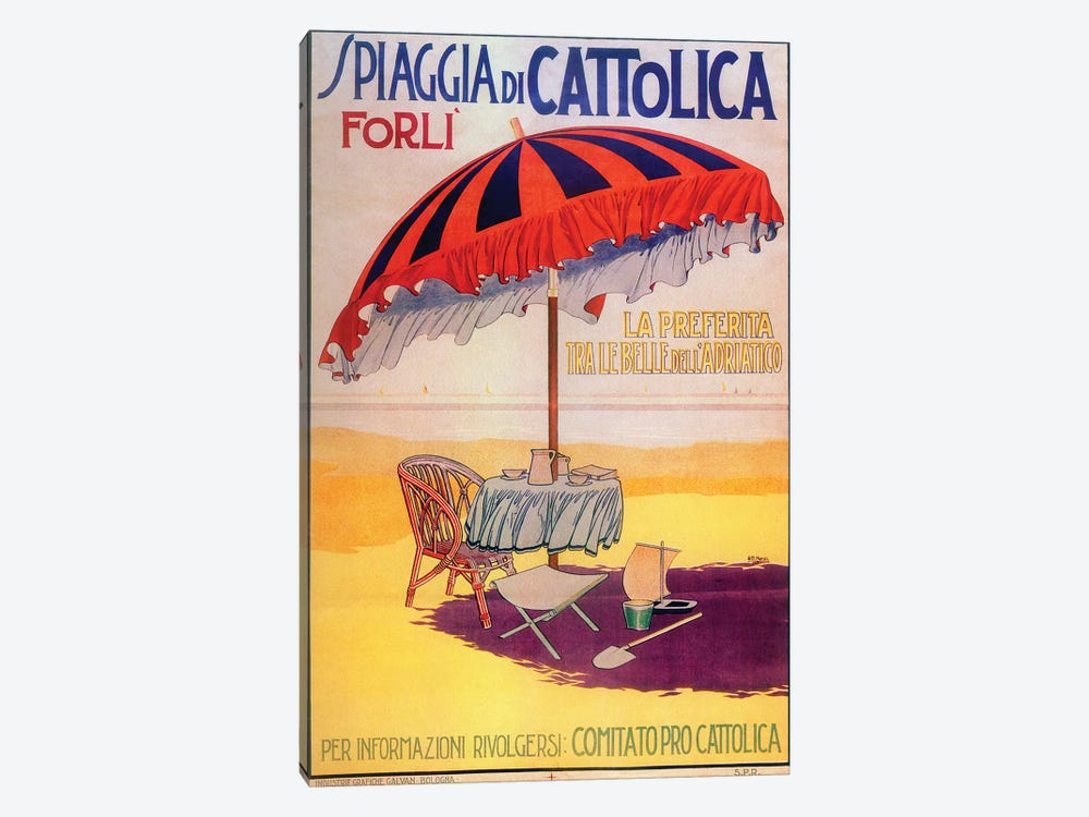 Spiaggia Cattolica by Vintage Apple Collection 1-piece Canvas Print