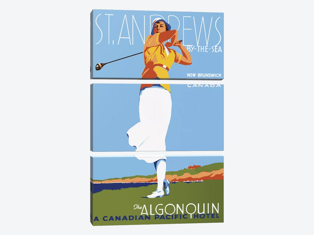 St. Andrews by Vintage Apple Collection 3-piece Canvas Art Print
