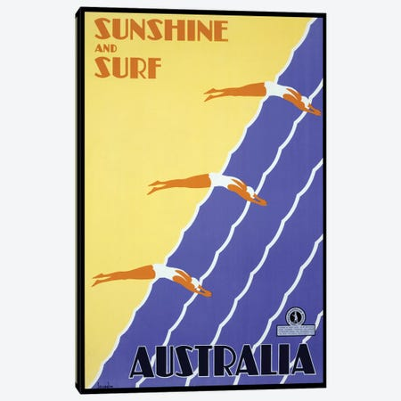 Sunshine And Surf Australia Canvas Print #VAC2039} by Vintage Apple Collection Canvas Art