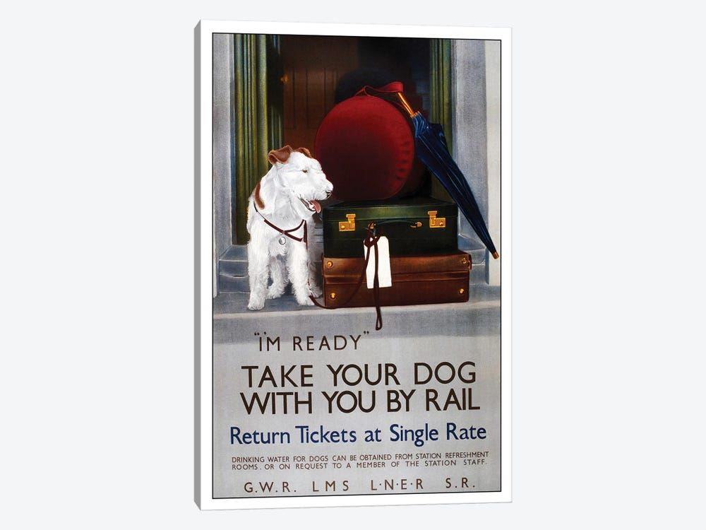 Take Your Dog By Rail by Vintage Apple Collection 1-piece Canvas Art