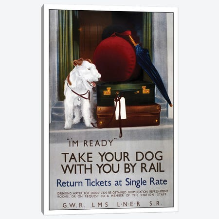 Take Your Dog By Rail Canvas Print #VAC2044} by Vintage Apple Collection Canvas Artwork