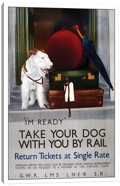 Take Your Dog By Rail Canvas Art Print