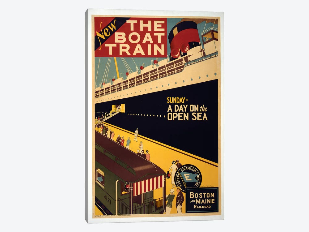The Boat Train, Boston And Maine Railroad by Vintage Apple Collection 1-piece Art Print