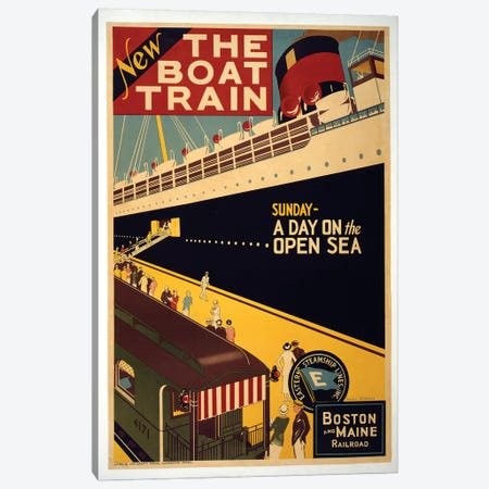 The Boat Train, Boston And Maine Railroad Canvas Print #VAC2050} by Vintage Apple Collection Canvas Artwork