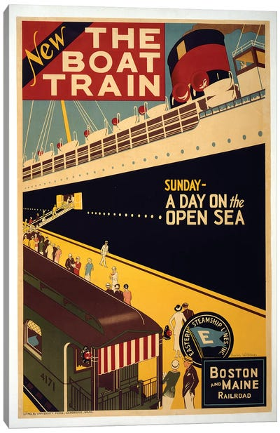 The Boat Train, Boston And Maine Railroad Canvas Art Print