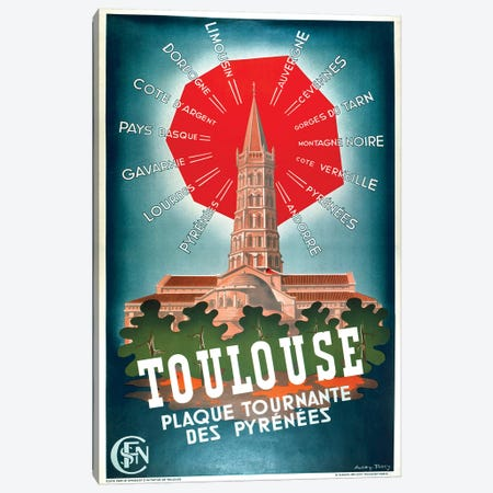 Toulouse, Plaque Tournante des Pyrenees Canvas Print #VAC2072} by Vintage Apple Collection Canvas Artwork