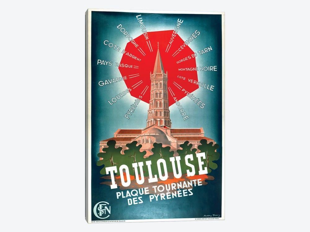 Toulouse, Plaque Tournante des Pyrenees by Vintage Apple Collection 1-piece Canvas Print