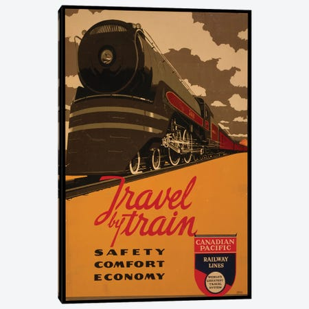 Travel By Train, Canadian Pacific Railway Lines Canvas Print #VAC2075} by Vintage Apple Collection Art Print