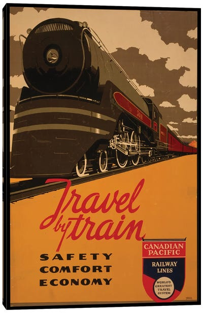 Travel By Train, Canadian Pacific Railway Lines Canvas Art Print