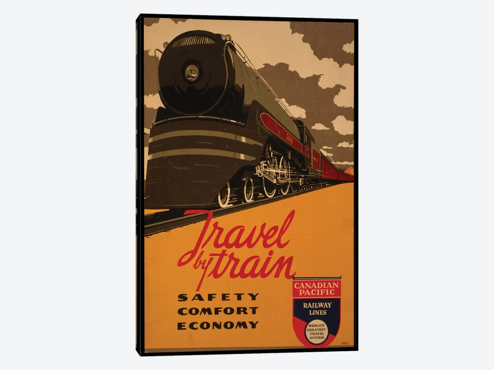 Travel By Train, Canadian Pacific Railway Lines by Vintage Apple Collection 1-piece Canvas Artwork