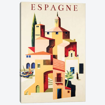Travel Espagne Canvas Print #VAC2076} by Vintage Apple Collection Art Print