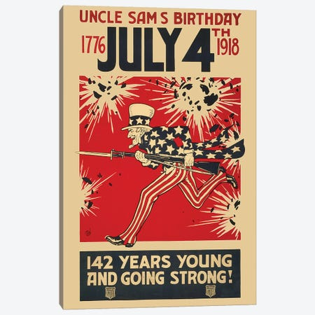 Uncle Sam's Birthday, July 4th 1918 Canvas Print #VAC2087} by Vintage Apple Collection Canvas Artwork