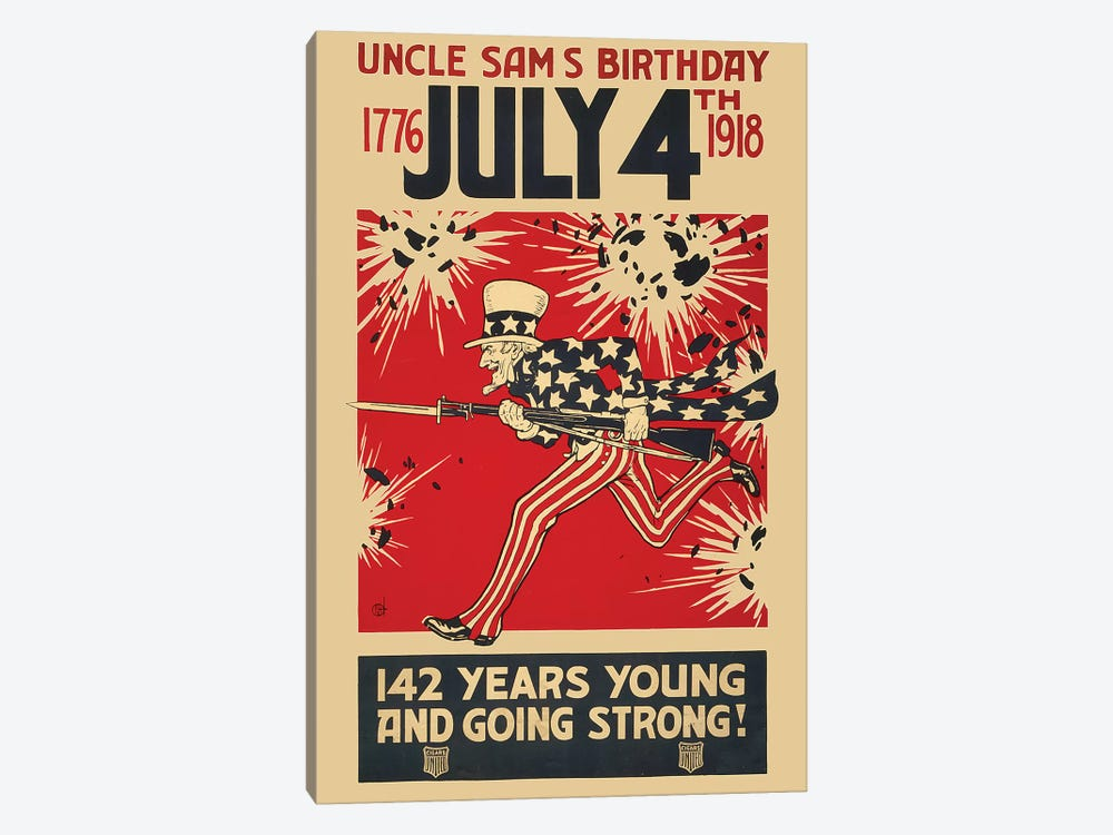 Uncle Sam's Birthday, July 4th 1918 by Vintage Apple Collection 1-piece Canvas Print