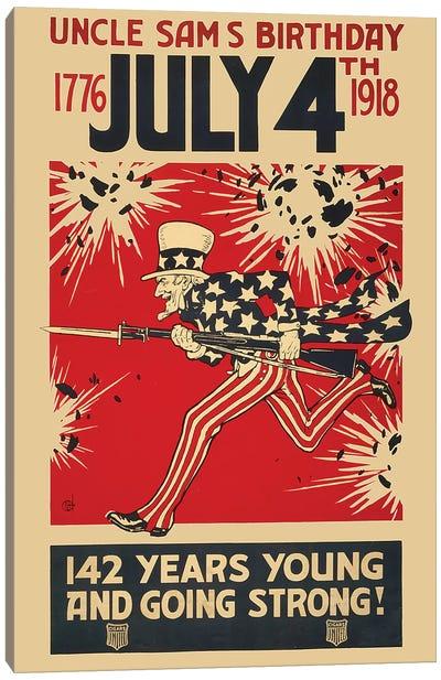 Uncle Sam's Birthday, July 4th 1918 Canvas Art Print