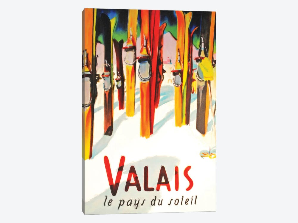Valais Skiing by Vintage Apple Collection 1-piece Art Print