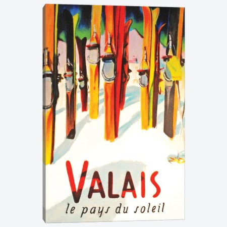 Valais Skiing Canvas Print #VAC2094} by Vintage Apple Collection Canvas Print