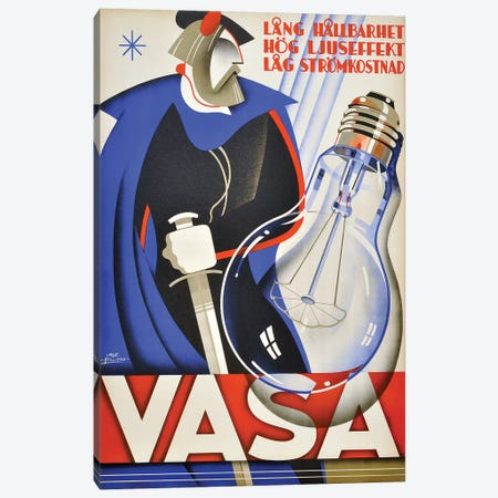 Vasa Lightbulb Canvas Print #VAC2100} by Vintage Apple Collection Canvas Wall Art