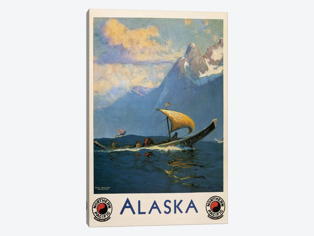 Vintage Alaska, Northern Pacific Railway by Vintage Apple Collection 1-piece Canvas Print