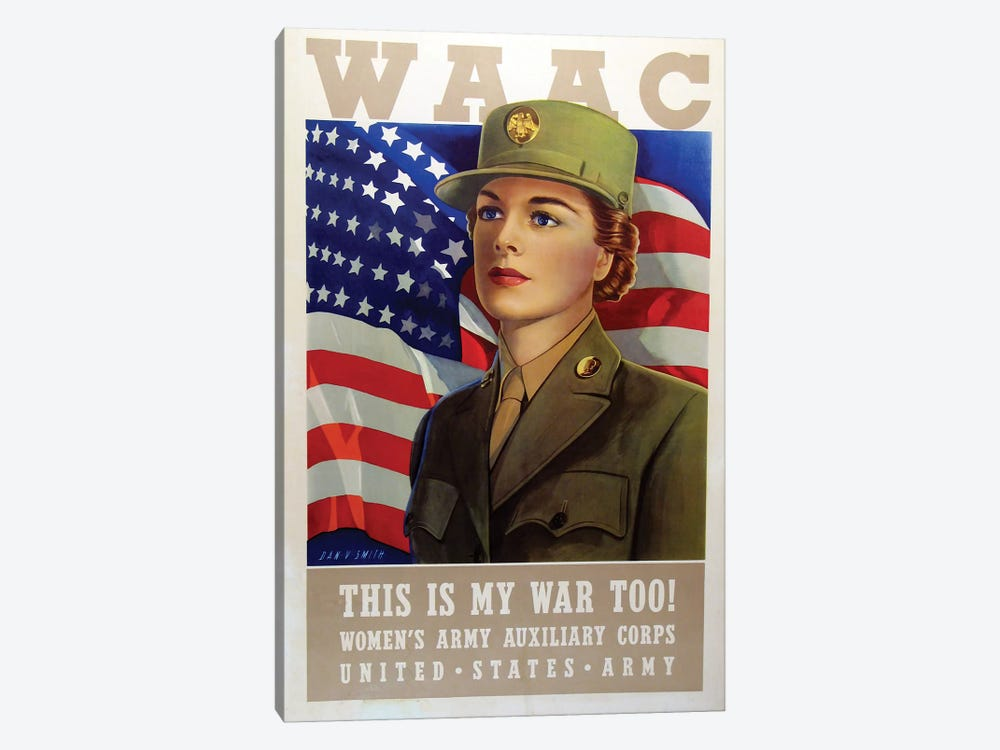 WAAC, U.S. Army WWII Era by Vintage Apple Collection 1-piece Canvas Print
