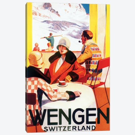 Wengen, Switzerland Skiing Canvas Print #VAC2131} by Vintage Apple Collection Canvas Art Print